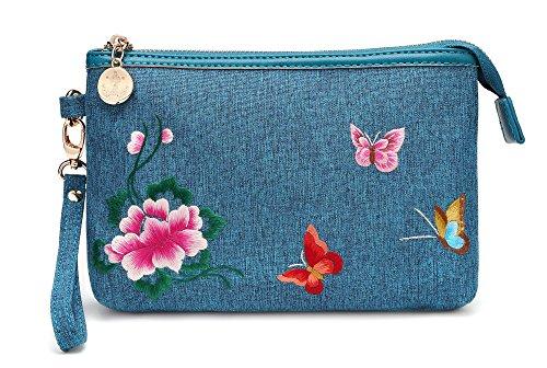 chinois broderie sac femmes main sac à broderie à dames portefeuille main sac sacs style petit main à Femmes sac à papillon fleurs en qxwHTq