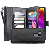 LG G7 ThinQ Case, LG G7 Case, Lacass Detachable 2 in 1 Luxury PU Leather Flip Wallet Case with 12 Card Slots and Wrist Strap for LG G7 ThinQ (2018) – Black Review