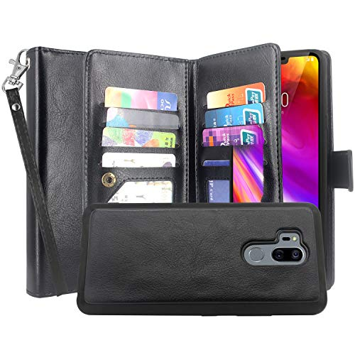 LG G7 ThinQ Case, LG G7 Case, Lacass Detachable 2 in 1 Luxury PU Leather Flip Wallet Case with 12 Card Slots and Wrist Strap for LG G7 ThinQ (2018) - Black