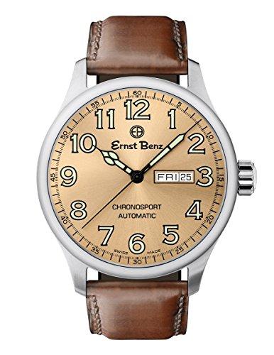 Ernst Benz Chronosport Copper Dial Green Numerals 44mm Swiss Automatic Men's Watch (Swiss Eta 2836 2 Automatic)