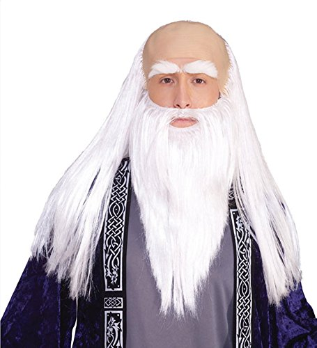 Wig And Beard Merlin (Wizard Adult Disguise Set (As Shown;One)