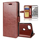 Ziaon(TM) Super Series 100% Polyurethen Leather Flip Stand Wallet Case For Google Pixel 2 - Mangnetic Lock- Brown