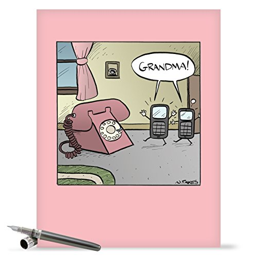 J1609MDG Jumbo Funny Mother's Day Card: Grandma Phone With Envelope (Extra Large Version: 8.5'' x 11'')