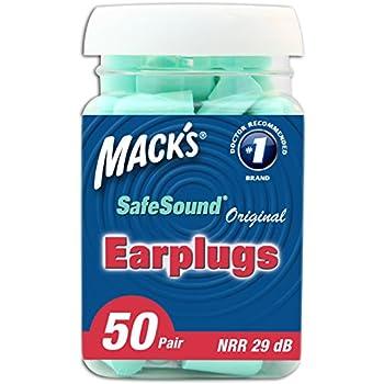 Mack's Original SafeSound Soft Foam Earplugs, 50 Pair - Comfortable Ear Plugs for Sleeping, Snoring, Work, Travel and Loud Events