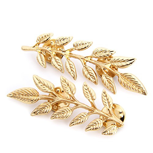 LANDUM 1 Piece Cufflinks for Mens, Vintage Wheat Leaf Branch Gold Silver Plated Neck Tip Brooch Collar Pin - Gold from LANDUM