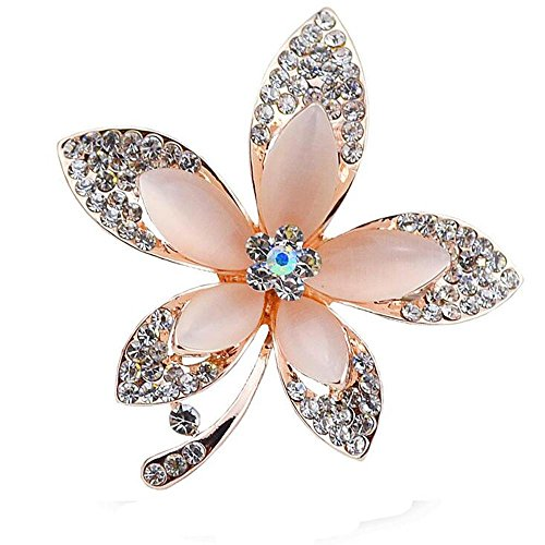 - DB&PEISHI 3pcs Electroplating maple leaves brooch. Five-leaf cat's eye catkins scarf buckle , gold