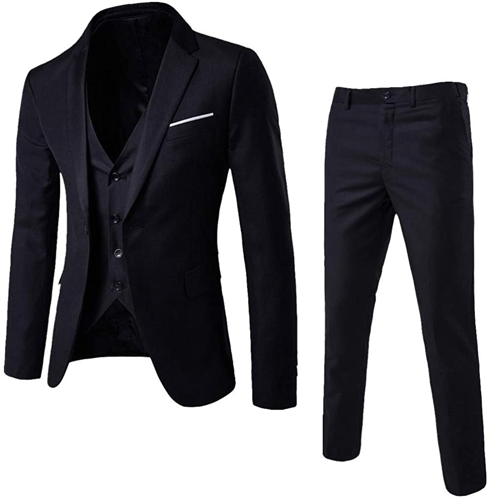 Sumen Clearance Mens Suit Slim Fit Blazer 3 Piece Suit Wedding Party Jacket Vest Pants At Amazon Men S Clothing Store