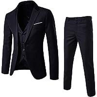 Sumen Men Suit Slim 3-Piece Suit Blazer Business Wedding Party Jacket Vest+Pants