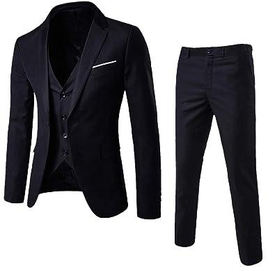 f84f52a0d2 Men's Suit Slim 3-Piece Suit Blazer, Business Wedding Party Jacket Vest &  Pants