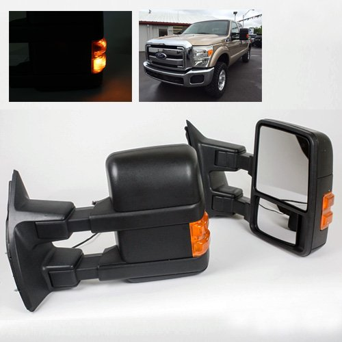 ModifyStreet Extendable Towing Mirrors with Heated Defrost & LED Turn Signal Light for 2008-2015 Ford F250/F350/F450/F550 Super Duty - 1 Pair - Extendable Towing Mirrors