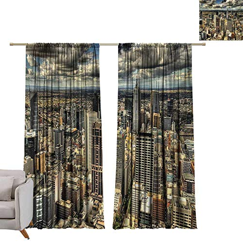 Urban,Door Curtain Panel Home Decoration Melbourne Cityscape Modern Australia Architecture Buildings Metropolis Dramatic Sky W72 x L84 Big Window Drapes