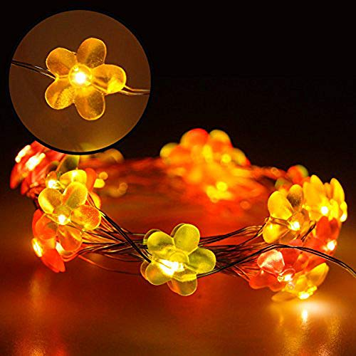 YMING Decorative Fairy Lights, USB 19.6ft 40 LEDs Flower String Lights Waterproof Festival Starry Twinkle Lights for Bedroom Indoor Outdoor Christmas Party (Multicolor Flower)