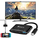 USB Type-C to HDMI 4K Adapter, USB-C to HDMI 4K and USB 3.0 with PD Power Delivery Multiport Digital AV Converter for Nintendo Switch, Samsung Galaxy S8, Note 8, Huawei Mate 10, Macbook Pro and More