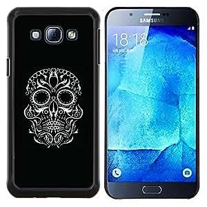 LECELL--Funda protectora / Cubierta / Piel For Samsung Galaxy A8 A8000 -- Negro motorista blanco del cráneo Roca Ojos --