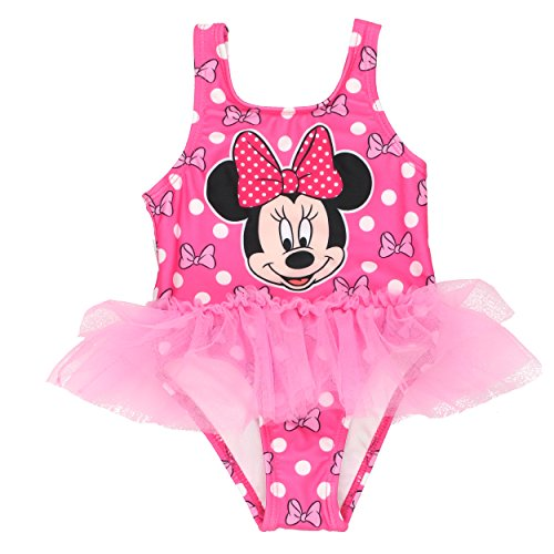 Disney Minnie Mouse Girls Swimwear Swimsuit (3T, Pink) - Pink Swimsuit Bathing Suit