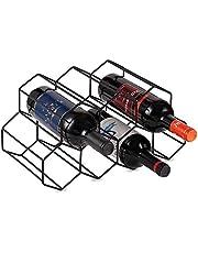 Tabletop Wine Rack,Metal Black Brushed Geometric Designed Bottle Holder, Perfect for Home Decor, Bar, Wine Cellar, Basement, Cabinet, Pantry,7 Bottle Wine Storage Stand (Black)