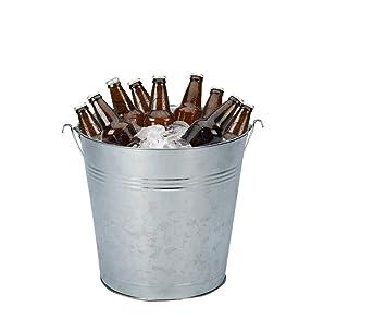 Cubo enfriador para bebidas de metal galvanizado para fiestas, barbacoas, cumpleañ ...