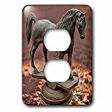 3dRose Roni Chastain Photography - Steel horse - Light Switch Covers - 2 plug outlet cover (lsp_261669_6)