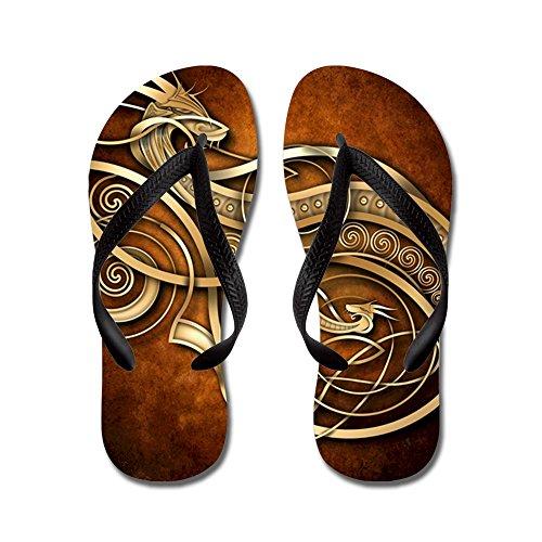 Cafepress Gold Norse Dragon - Chanclas, Sandalias Thong Divertidas, Sandalias De Playa Negras