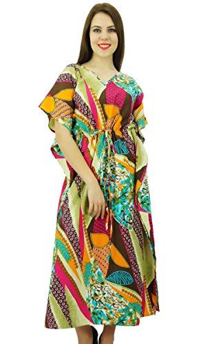Phagun Kaftan Bohemian Kaftan aus Baumwolle Kleidungs lange Maxi Kleid Nachtwäsche Mehrfarben