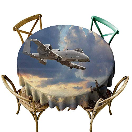 Wendell Joshua Navy Blue Tablecloth 36 inch Airplane,Peacekeepers Mission Jet Up International Military Force Combat Flight Picture,Blue Silver Suitable for Indoor Outdoor Round Tables