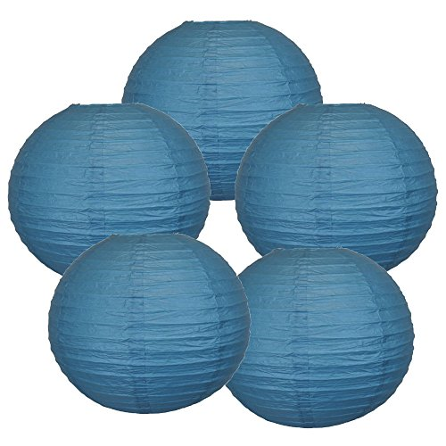 Just-Artifacts-10-Dark-Blue-Paper-Lanterns-Set-of-5-Click-for-more-ChineseJapanese-Paper-Lantern-Colors-Sizes