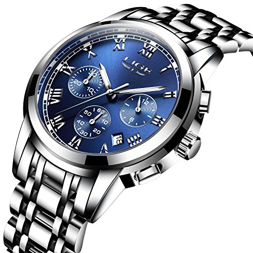 Watches Men Luxury Stainless Steel Quartz Analog Chronograph Waterproof Date Men's Wrist Watch,Blue (Mens Silver Dial Luxury Watch)