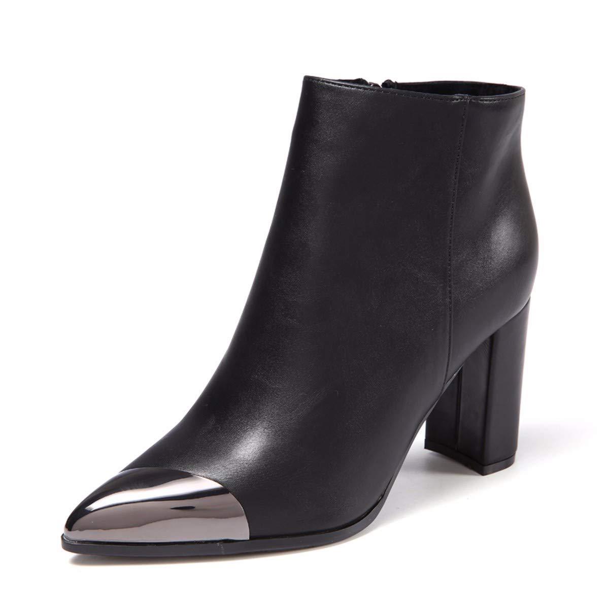noir Thirty-six HBDLH Chaussures pour Femmes Rude Talon Martin Bottes La Hauteur du Talon 9Cm Côté Zipper Métal Tips Bottes