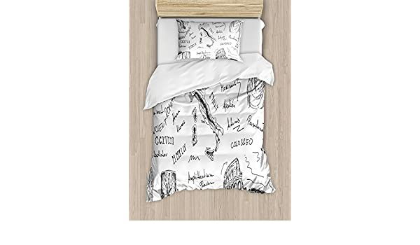 Amazon.com: Ambesonne Toga Party Twin Size Duvet Cover Set, Ancient Roman Period Icons Caesar Colosseum Gladiator and Map Sketch Art, Decorative 2 Piece ...
