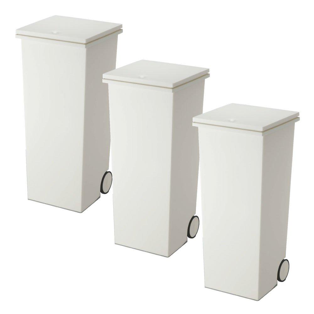 岩谷マテリアル kcud スクエア プッシュペール 3個セット ゴミ箱 ごみ箱 ダストボックス おしゃれ ふた付き クード (Wホワイト×Wホワイト×Wホワイト) B074281L38Wホワイト×Wホワイト×Wホワイト