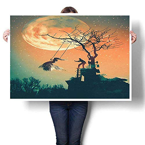 SCOCICI1588 Canvas Print Wall Art,Decor Spooky Night Zombie Bride and Groom Lady on Swing Under Starry Sky Painting,Artwork for Wall Decor,16