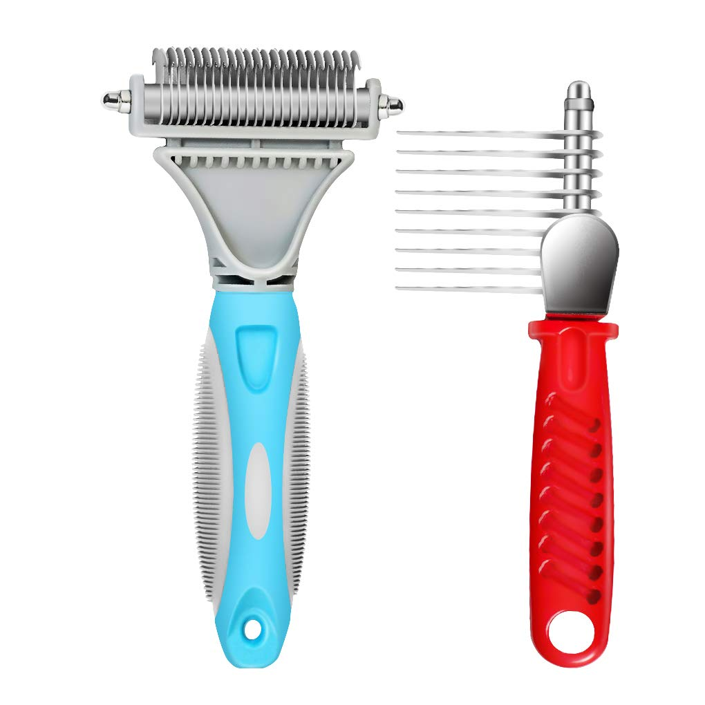 LOYCREW Pet Grooming Tools Value Bundle - Dog Undercoat Rake & Dematting Combs for Long & Medium Hair Dogs and Cats (Blue + Red)