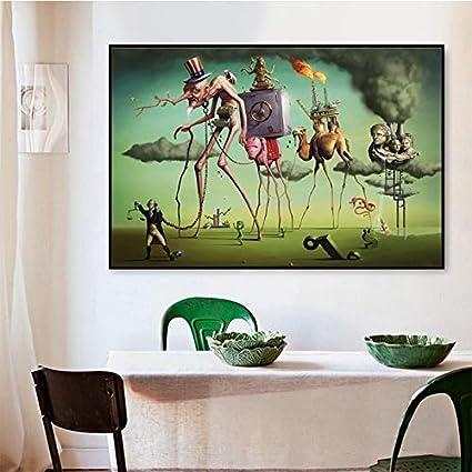 HNTHBZ Moda Pintura Lienzo Salvador Dali Art Cartel de la Pared Impresiones Hombre Cerdo Camellos Pintura al óleo Pinturas de Cuadros de la Pared for Sala de Estar decoración clásica Pinturas