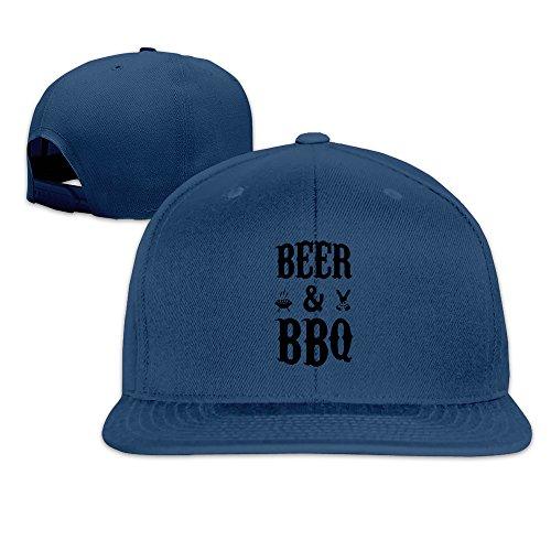 BASEE Beer And BBQ Adjustable Flat Along Baseball Cap Navy ()
