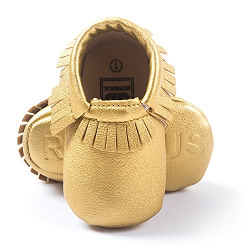 Happy Cherry Zapatos con Borlas Mocasines de PU Piel Suaves Zapatitos Primeros Pasos Calzado Infantil para 9-12 Meses Bebés Niñas Niños Baby Prewalker Shoes Longitud 13cm Talla EU 20-21 Color Caqui Oro