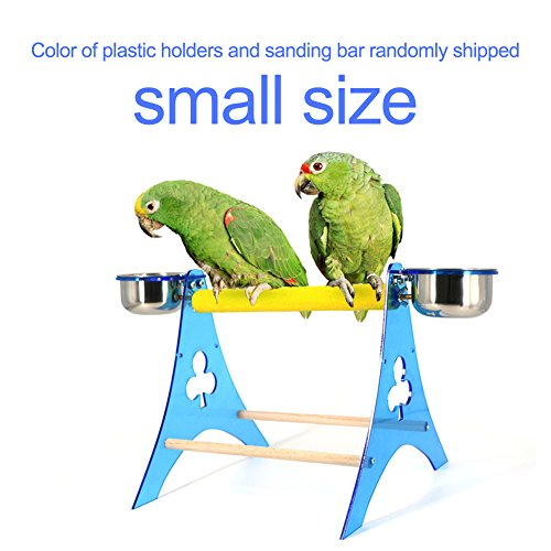 Mokook Bird Table Feeder with Food Containers for Parrot Macaw African Greys Budgies Parakeet Cockatiel Cockatoo Conure Lovebird Standing Scratching Feeding, Acrylic Stand Frame Tripod Design