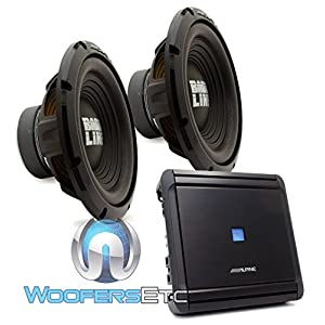 "(2) Alpine SWA-12S4 12"" Single 4-Ohm 250W RMS Bassline Series Subwoofers + Alpine MRV-M500 1-Channel 500W RMS 1000W Max V Power Series Car Amplifier"