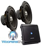 (2) Alpine SWA-12S4 12' Single 4-Ohm 250W RMS Bassline Series Subwoofers + Alpine MRV-M500 1-Channel 500W RMS 1000W Max V Power Series Car Amplifier