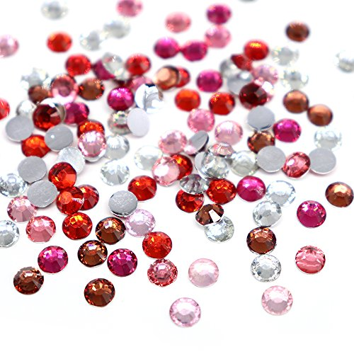 Flat Back Rhinestones Round Brilliant Crystal Rhinestones Assorted MIX (SS10 3mm 1440pcs, Mix Red, Fuchsia,Hot Pink, Light Pink and Clear)