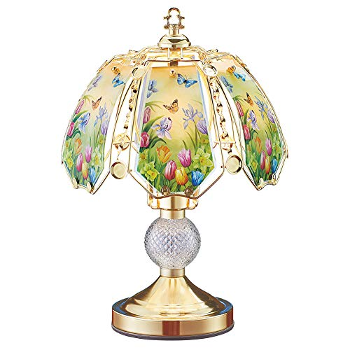 Collections Etc Spring Tulip Garden and Butterflies Touch Lamp - Tabletop Home Décor for Any Room