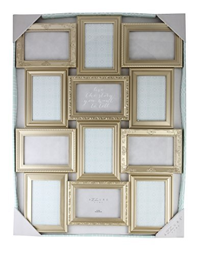 - Azzure Home 12 Openings Decorative Wall Hanging Collage Picture Frame - Made to Display Six 5x7 and Six 4x6 Photos, Champagne