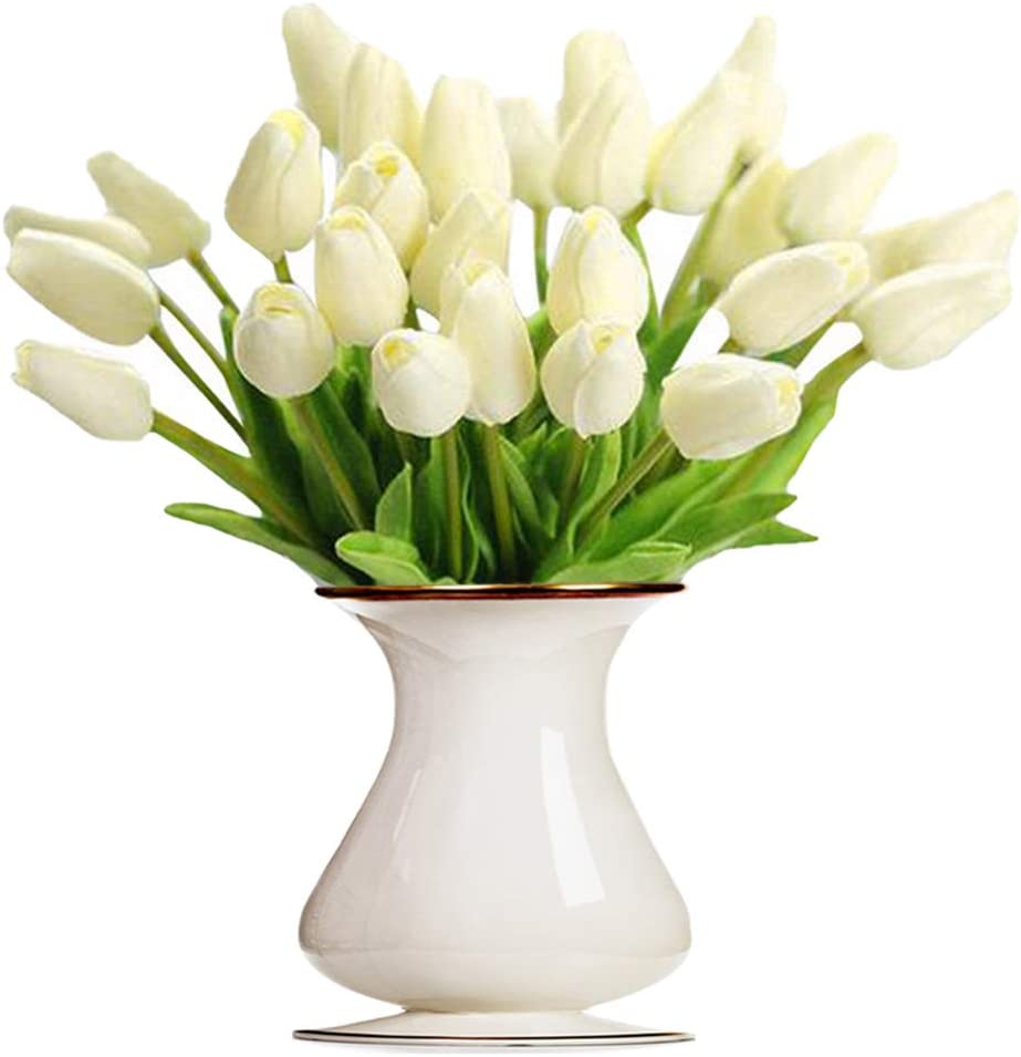 Bossrandy Artificial Tulips Real Touch Fake Latex Flowers 15 Pcs Eco-Friendly Holland Mini Tulip for Wedding Decor DIY Home Party(Cream)