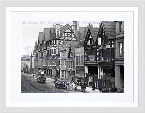 (The Art Stop Chester EASTGATE Street and NEWGATE Street England Old BW Framed Print)