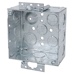 Steel City 52171-OW Pre-Galvanized Steel Square Old Work Box with 1/2-Inch and 3/4-Inch Eccentric Knockouts