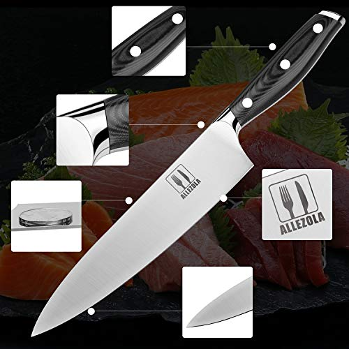 Allezola 7.5 Inch Professional Chef Knife Kitchen Knives German High Carbon Stainless Steel with Ergonomic Handle, Cooking knife for Home and Restaurant by Allezola (Image #2)'