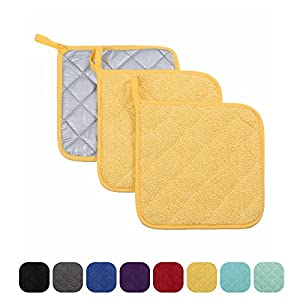 "VEEYOO 100% Cotton Pot Holders Hot Pads Quilted Trivet Mats Spoon Rest Heat Resistant 7x7"", Set of 3, Yellow"