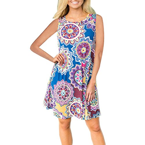 SHOBDW Moda para mujer de verano Vintage Boho Maxi sin mangas delgadas atractivas fiesta de tarde Beach Floral A-Line vestido Azul