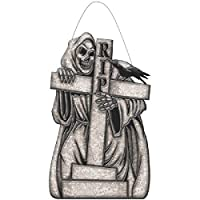 "Creepy Cemetery Halloween Party Grim Reaper Hanging Sign Decoration, Foam, 11"" x 7"""