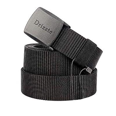 Drizzte Plus Size 51-79'' Men's Black Nylon Military Tactical Plastic Buckle Belt