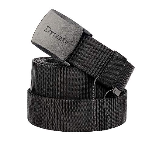 Drizzte 63'' Plus Size Long Men's Military Duty Web Nylon Belt Plastic Buckle Black (Buzz Off Apparel)
